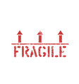 isolated fragile grunge red box sign with vector image vector image