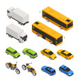 isometric colored city transport set vector image