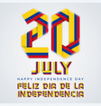 july 20 colombia independence day congratulatory vector image vector image