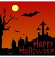 Landscape and blooded inscription Happy Halloween vector image vector image