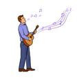 man sings song pop art vector image