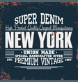 new york t-shirt graphics vintage denim typography vector image vector image