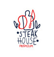 premium steak house logo template vintage label vector image vector image