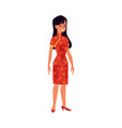pretty woman in chinese traditional red dress flat vector image