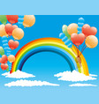 rainbow and balloons vector image vector image