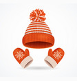 realistic 3d detailed winter hat and mittens set vector image