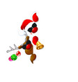 santa and a reindeer in sunglasses 2 vector image vector image