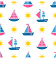 seamless pattern with cartoon boats and sun vector image vector image