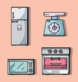 set kitchen utensils object to make food vector image vector image