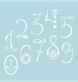 set marine numerals hand drawn vector image vector image