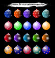 set of 20 christmas balls vector image