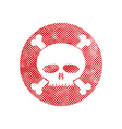 Skull icon with pixel print halftone dots texture vector image vector image