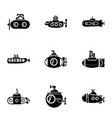 submarine boat icons set simple style vector image vector image