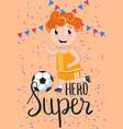 super hero kids postcard template vector image vector image