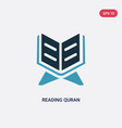 two color reading quran icon from religion vector image vector image