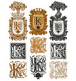 vintage initial letter k with baroque decorations vector image
