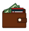 wallet money with credit card and money vector image vector image
