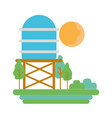 water tank with trees and sun vector image vector image
