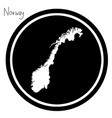 white map of norway on black circle vector image vector image