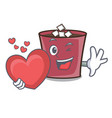 with heart hot chocolate mascot cartoon vector image