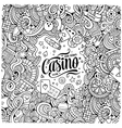 Cartoon doodles casino frame design vector image