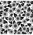 sunflower flower black isolated seamless vector image