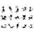 cartoon Black cat silhouettes vector image