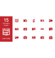 15 capture icons vector image vector image