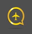 airplane gold icon vector image vector image