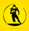 american football player action graphic vector image vector image