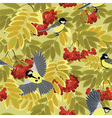 autumn rowan branches and tits vector image vector image