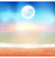 beach with full moon at night vector image vector image