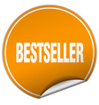 bestseller round orange sticker isolated on white vector image vector image