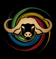 buffalo head face front view graphic vector image vector image