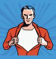 businessman rips his shirt super strong man vector image vector image