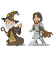 cartoon medieval wizard and knight characters set vector image