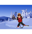 cartoon skier in the snowy mountains with a hut vector image