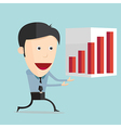 cartoon with bar graph in flat design vector image vector image