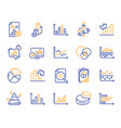 charts and diagrams line icons set of 3d chart vector image vector image