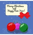 Christmas card with three balls studded snow vector image vector image