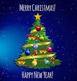 Christmas tree with toys balls ribbon and garland vector image
