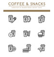 coffee cup and different fast food vector image vector image