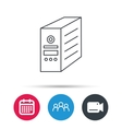 Computer server icon PC case or tower sign vector image vector image