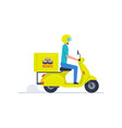courier delivering sushi on scooter vector image vector image