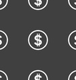 Dollar icon sign Seamless pattern on a gray vector image vector image