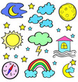 doodle of weather design set vector image vector image