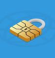emv chip padlock for credit card secure online vector image