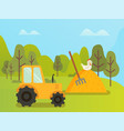farm machinery tractor and hay with hen nature vector image vector image