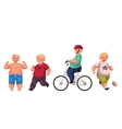 Fat boy doing sport exercises cycling running vector image