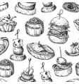 finger food seamless pattern food vector image